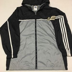 Vintage adidas striped logo windbreaker jacket